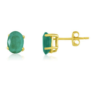 Image Is Loading 14k Yellow Gold Oval Emerald Stud Earring