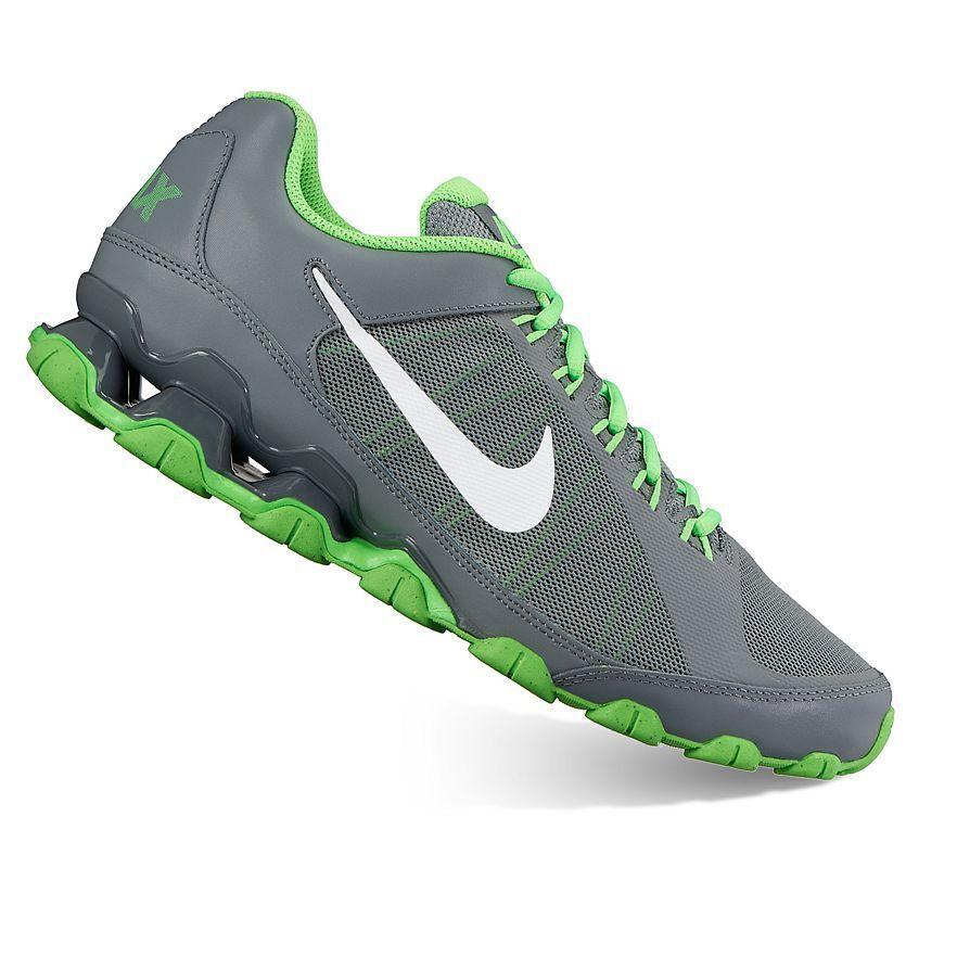 NIB homme Authentic Nike Reax TR 9 Mesh fonctionnement athlétique chaussures Sneakers GryGrn