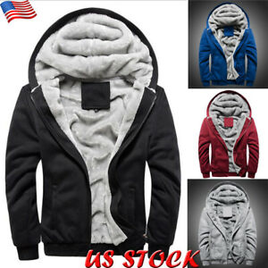 Mens-Winter-Fur-Lined-Hoodie-Jacket-Thick-Plush-Fleece-Coat-Hooded-Parka-Outwear