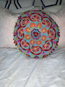 Embroidered-Cushion-Throw-Pillows-India-Bohemian-Decor-Round-Rectangle-Fringe