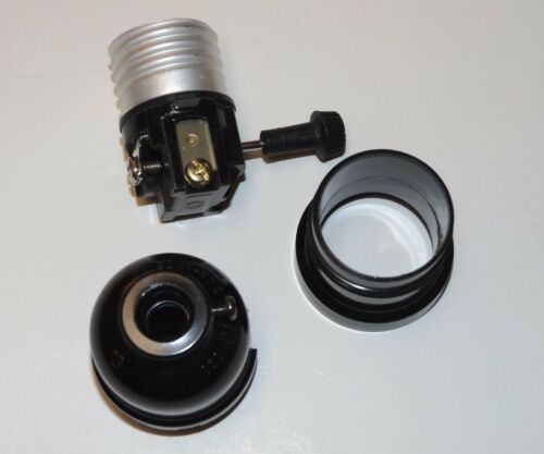 BLACK PLASTIC ON-OFF TURN KNOB LAMP SOCKET WITH UNO THREADS NEW 47678JB
