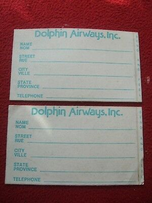Cooperative Airline Baggage Labels X 2 Dolphin Airways Inc 1980's / 90's Vintage