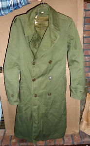 Vintage-US-Army-Overcoat-amp-1953-Wool-Liner-Small-Long-Korean-War-Era-VERY-WARM