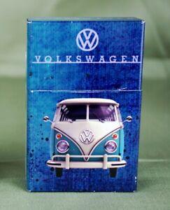 VW-Bus-Zigarettenetui-aus-Metall-Magnetverschluss-Bully-Zigaretten-Oldtimer-Blau