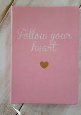 New Pink Blank Journal, FOLLOW YOUR HEART Inspiring Diary Eccolo GIFT Gold Heart