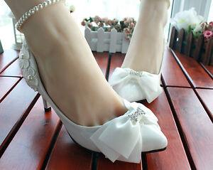Dekollete-Pumps-Damenschuhe-Ballerina-Weiss-Spitze-Braut-3-5-4-5-8-5-CM-8531