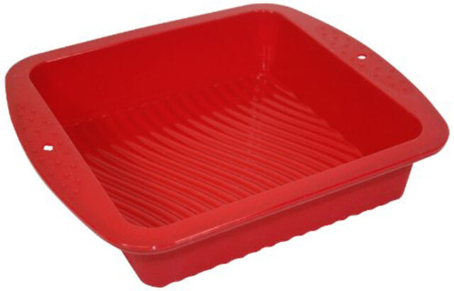 Silicone Worx Cake Pan Square Baking Tray Mould Red Non-Stick Oven Bakeware Tin