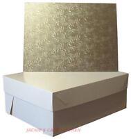 "18""x14"" SILVER OBLONG HARDBOARD WEDDING & CELEBRATION CAKE BOARD & OBLONG BOX"