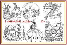 203 ~ 6 Crinoline Lady - Ladies Embroidery  IRON-ON Transfers Patterns