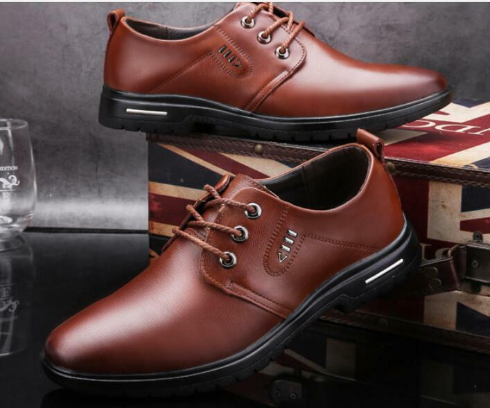 Lace Up Leather Men Formal shoes Business Dress Wedding shoes British Style New