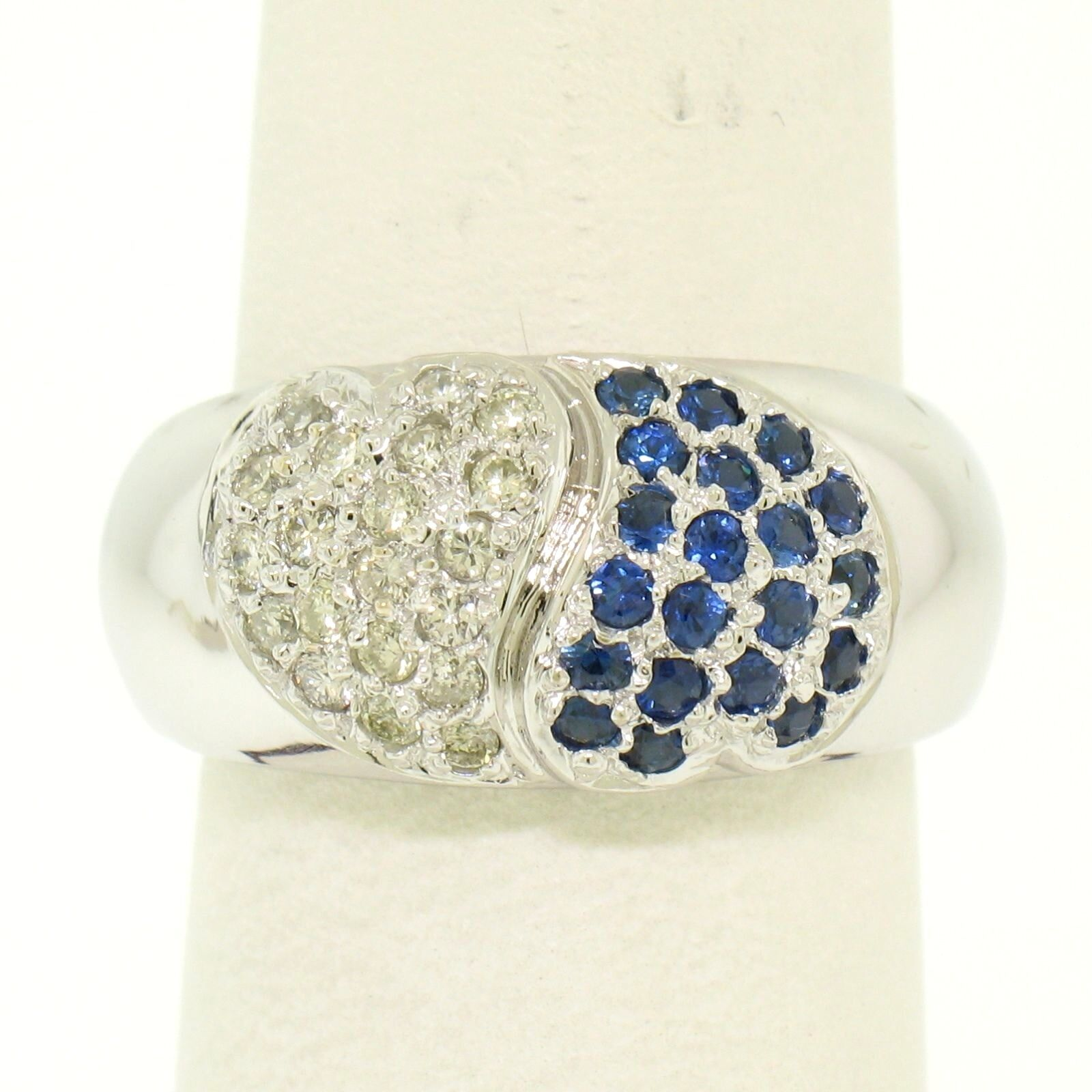 18k Solid White gold 0.80ctw Sapphire & Diamond Pave Heart Cluster Wide Ring