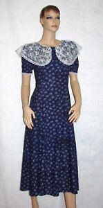 Vintage-Jessica-McClintock-Gunne-Sax-Size-7-8-Floral-amp-Lace-Tea-Dress-Bust-32