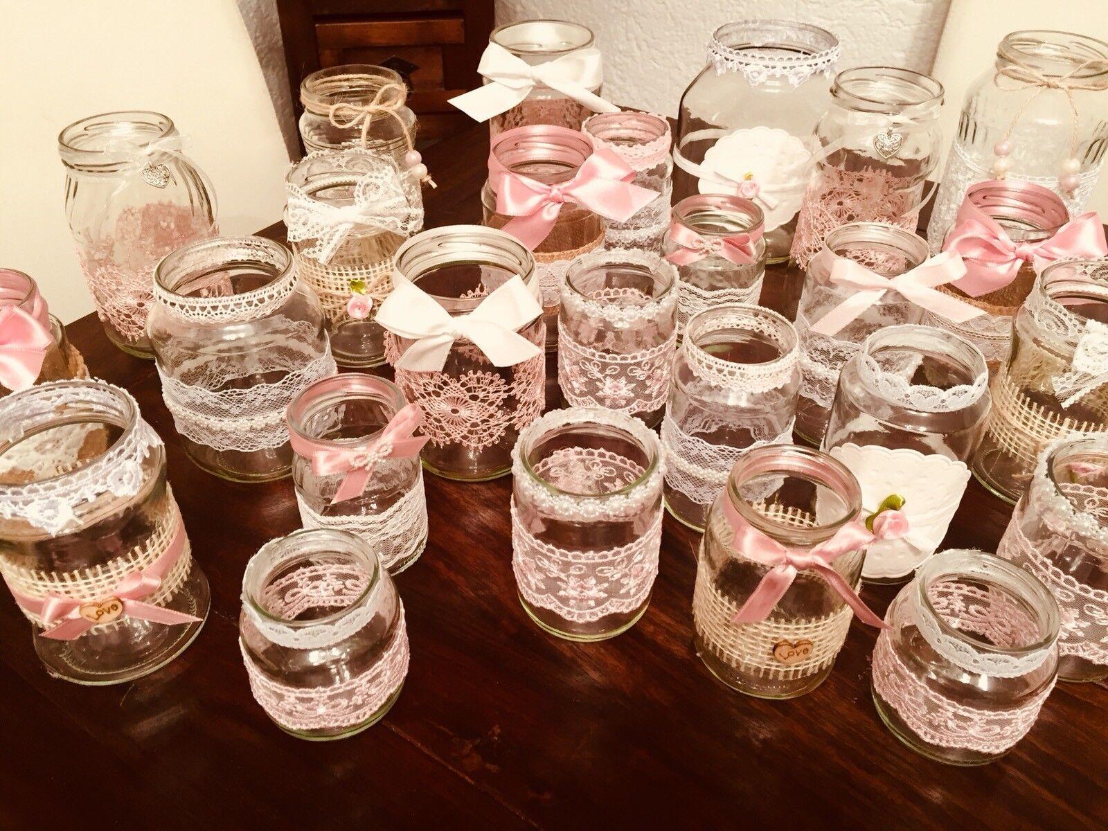 Vintage hochzeit Deko Set 50teilig Shabby Spitze Vasen Teelichthalter Rosa   Won hoch geschätzt und weithin vertraut im in- und Ausland vertraut    Outlet Store Online    Schönes Design