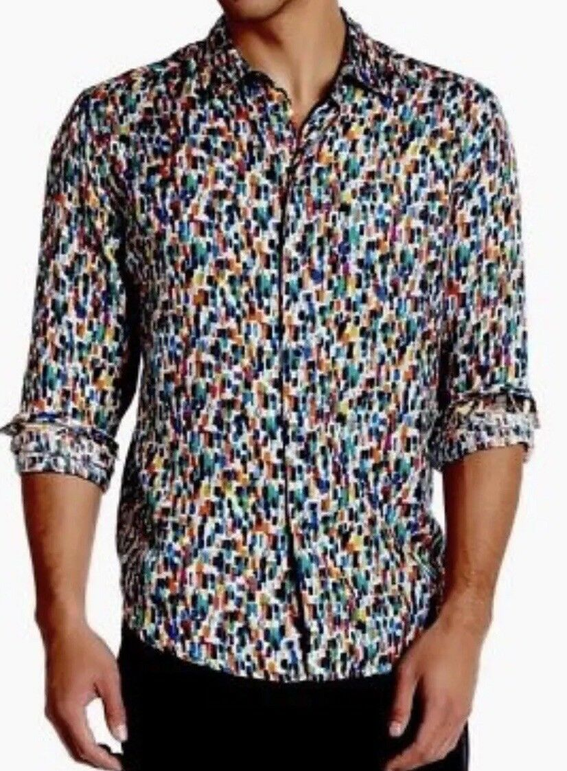 Robert Graham Confetti Champagne Toast 2016 Button Down Shirt Flip Cuff 348