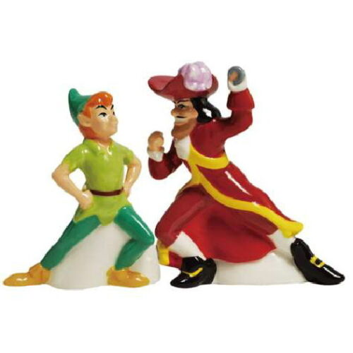 Walt Disney Peter Pan /& Captain Hook Ceramic Salt and Pepper Shakers Set SEALED