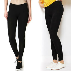 Details about Women's Cotton Full Length Leggings Soft Stretch Yoga Pant  Long Workout Fitness