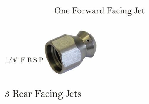 """Pressure Washer Drain Cleaning Nozzle 1//4/""""F B.S.P 1 Forward 3 Rear Size 045"""