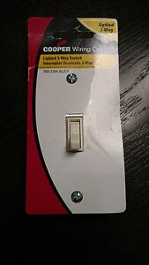 2Pc 3WAY LIGHTED Almond 15Amp Toggle Light Switch Eaton C13037LTA