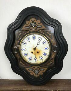 Antique-Clock-Wall-Wooden-Blackened-Napoleon-3-Eye-of-Boeuf-61-5-x-50-CM