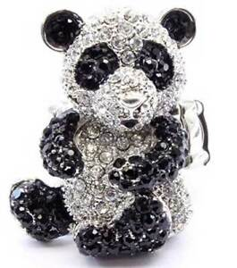 New-Crystal-Black-White-Panda-Bear-Cocktail-Ring-Silver-Tone-Adjustable-Cute