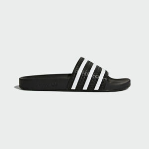 the best attitude 7f4f9 06dac Image is loading Adidas-Originals-Adilette-Black-White-Slides-3-Stripes-