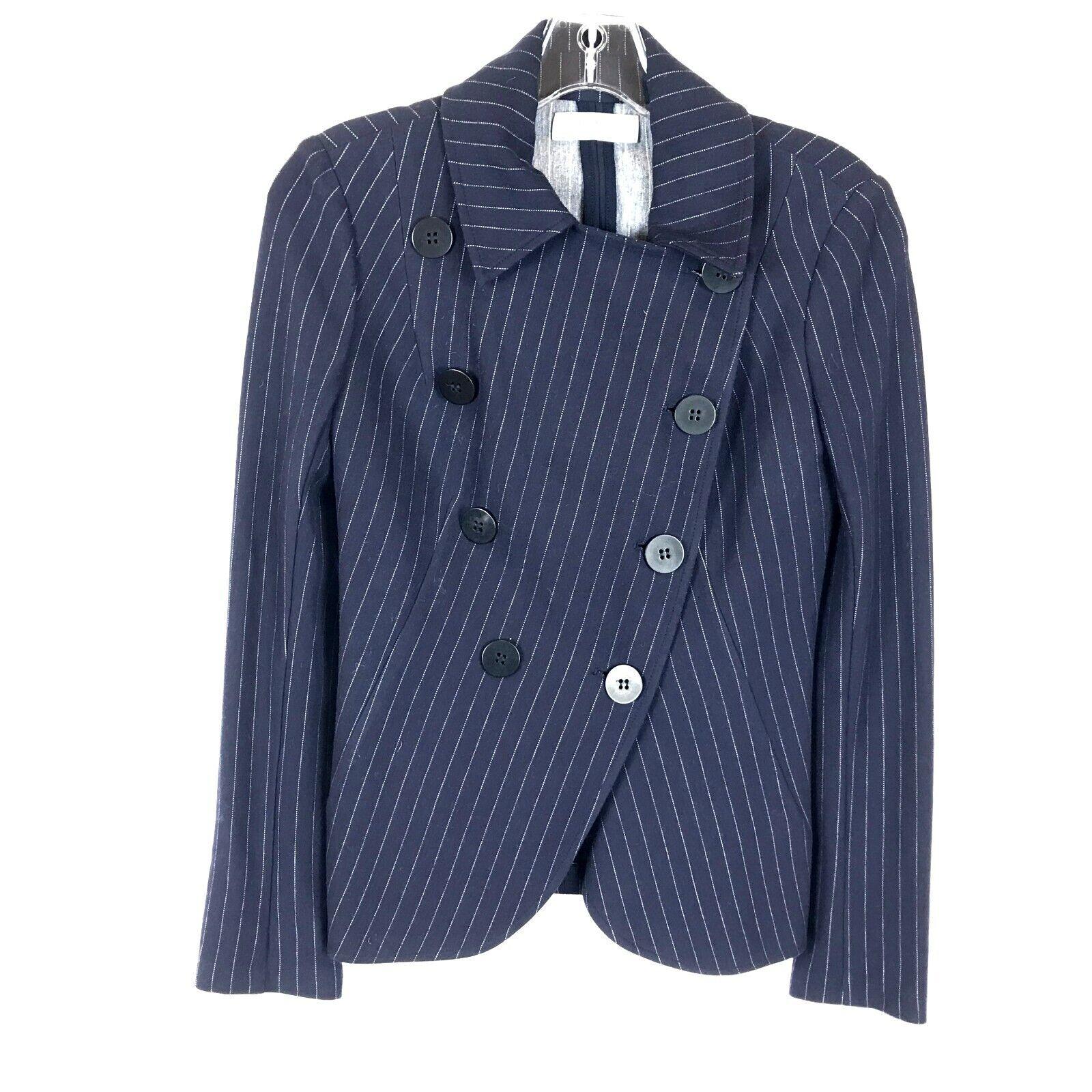 Womens Size XS Nordstrom Bailey 44 Navy Striped Asymmetric Button Blazer Jacket