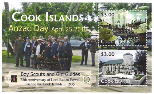 Cook Islands Anzac Day - 22nd World Scout Jamboree Souvenir Sheet - Gold Ovpt