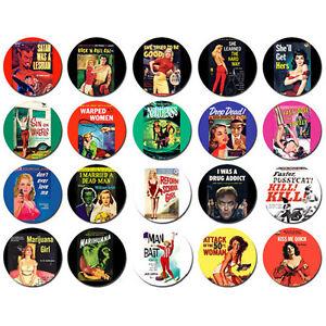 PULP-FICTION-ART-BADGES-x-20-Buttons-Pins-Wholesale-Retro-Lot-25mm-One-Inch-1-034
