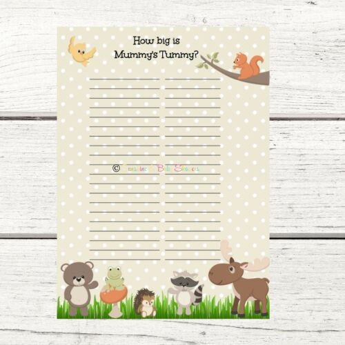 Guess how big Mummy/'s Tummy is Woodland Baby Shower Game  for 10 20 30 40 plyrs