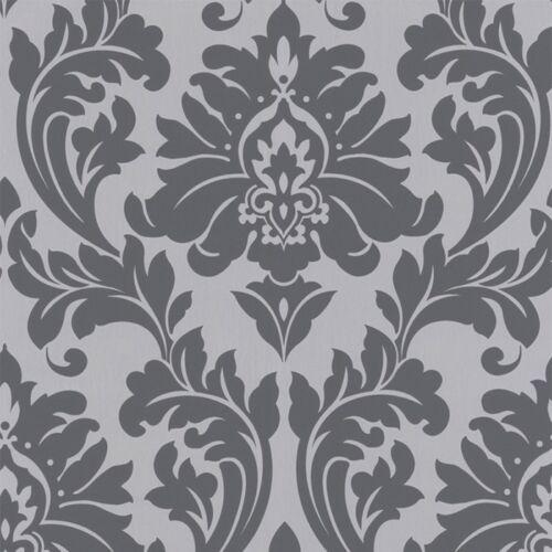 vlies tapete barock muster ornament metallic effekt silber grau klassisch - Tapete Muster Grau