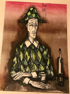 Bernard-Buffet-Lithograph-034-Arlequin-034-Pencil-Numbered-and-Signed