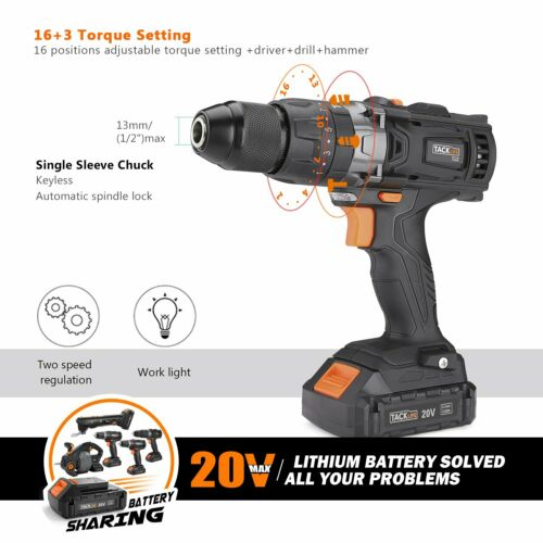 """Cordless Drill TACKLIFE 20V Electric Drill 1//2/"""" Metel Chuck with Hammer Functio"""