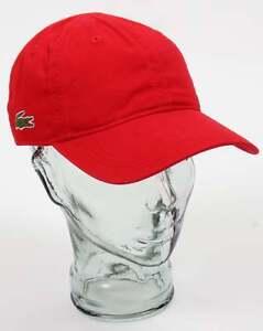 e097e4b81 Image is loading Lacoste-Gabardine-Baseball-Cap-in-Red-peaked-hat-