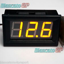 Voltmetro digitale 3-30V LED GIALLO [tensione tester pannello auto moto camper