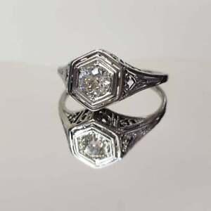 Filagree-Heart-Set-Engagement-Ring-Vintage-14k-White-Gold-Fn-2-Ct-Round-Diamond