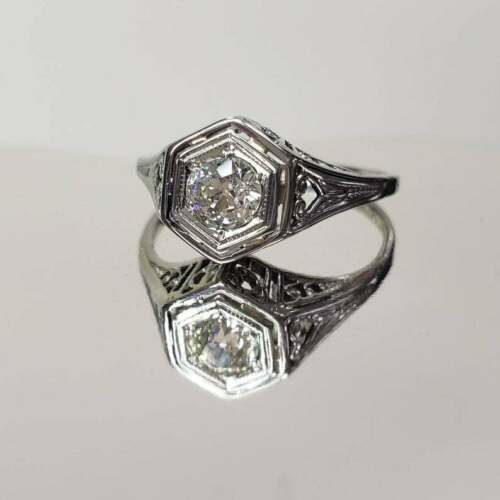 Filigree Heart Set Engagement Ring Vintage 2 Ct Round Diamon