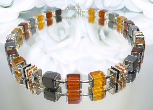 Würfelkette Halskette Würfel Glas Strass dunkelbraun braun hellbraun topas 092j