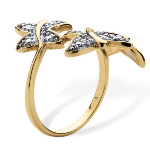 WOMENS 18K GOLD OVER STERLING SILVER BUTTERFLY RING SIZE 6 7 9 10
