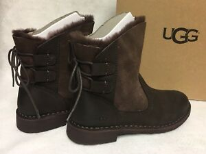 80fb3b13876 Details about Ugg Australia Naiyah Stout Brown Boot Lace Up Shearling Lace  Up women's 1019164