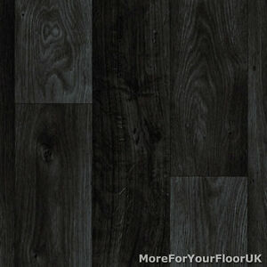 Black Dark Grey Wood Plank Vinyl Flooring Slip Resistant