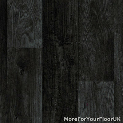 Black Dark Grey Wood Plank Vinyl Flooring, Slip Resistant Lino 3m Wide, Kitchen
