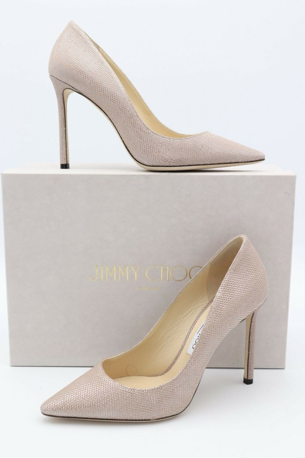 NIB Jimmy Choo Romy 100 Ballet Rosa Glitter Pointy  Toe Pump Heels 8.5 38.5  Pointy 675 f5ecd1