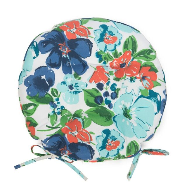 Set Of 2 16 Outdoor Round Bistro Chair Cushions W Ties Blue Green Floral