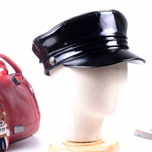 Women/'s Men/'s Real Patent Leather Shiny Black Beret Newsboy Army//Navy caps//hats