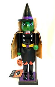 Halloween-Nutcracker-Green-Witch-w-Cape-Broom-Pumpkin-Holiday-Decor-14-5-inch