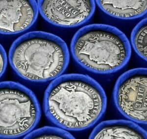 90-Silver-Barber-Dime-on-Lincoln-Wheat-Penny-Roll-Vintage-Old-US-Coins-Bullion