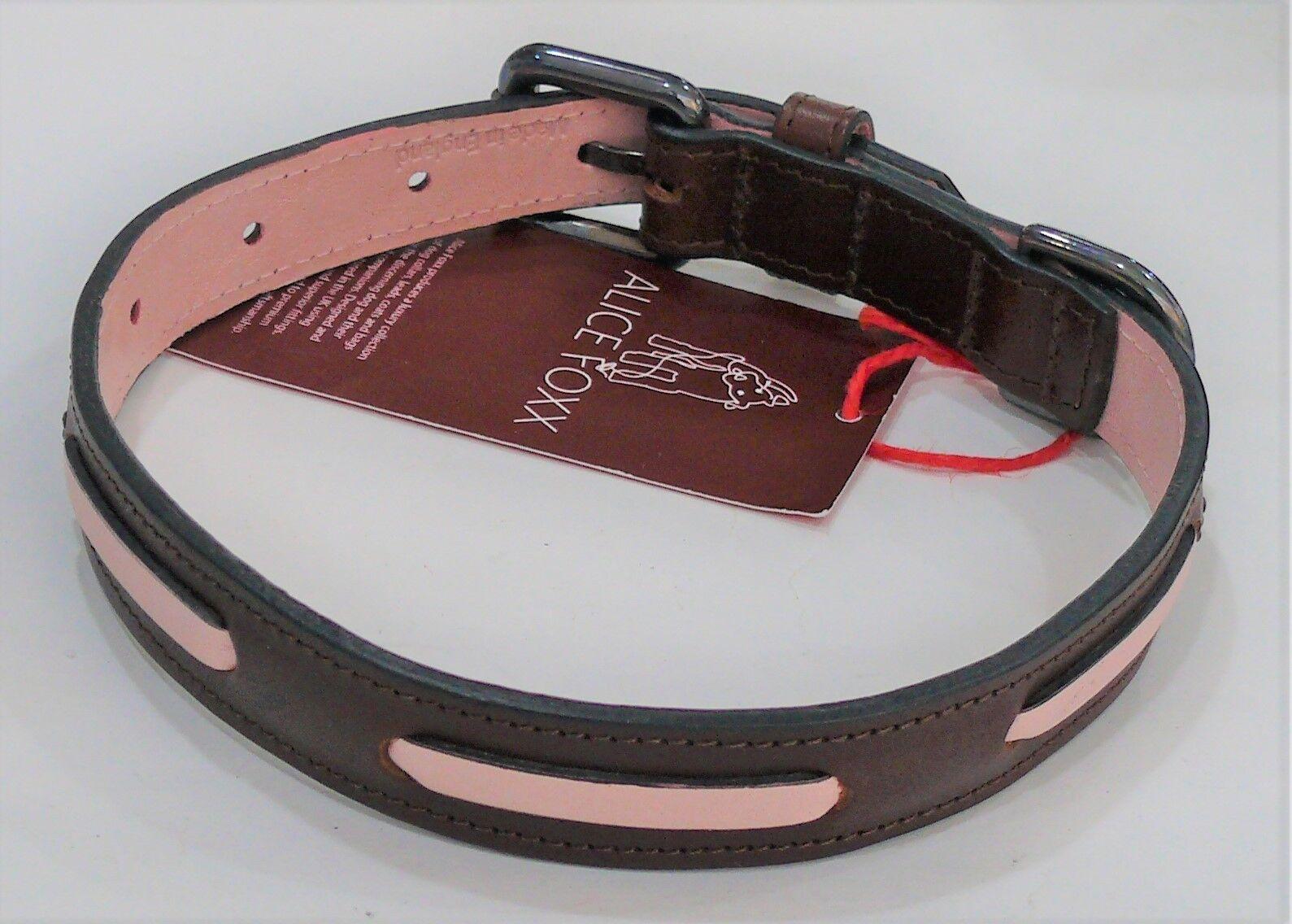 ALICE FOXX Bauhaus Brown Leather Dog Collar with Stitch Detail Medium -Brand New