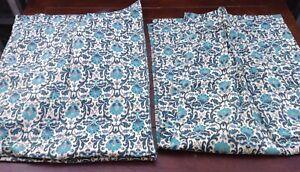 Vtg-1960s-MOD-Pinch-Pleat-Drapes-Curtains-2-Panels-24x53-034-Ea-Barkcloth-NO-HOOKS