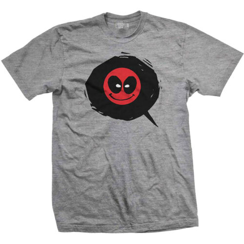 XXL Deadpool Emoji Face Icon Official Marvel X-men Grey Men T-shirt S