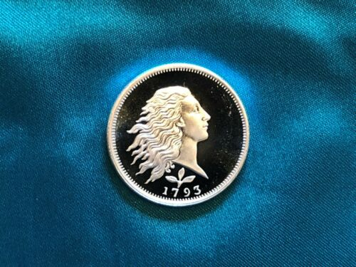 1//2 oz Silver Round Half oz. Deep Cameo Proof Design 1793 Flowing Hair